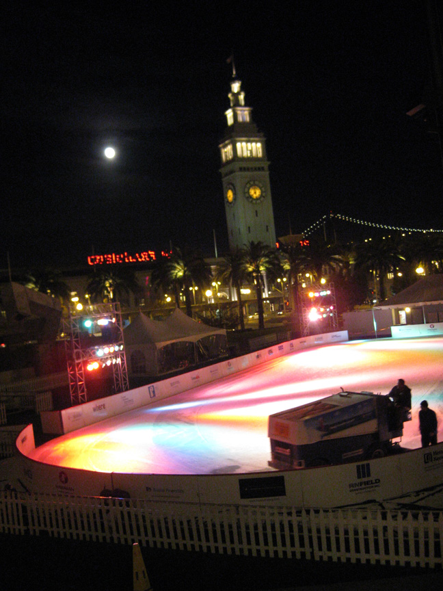 1. Holidays in San Francisco; 2. Pretty lights at night; 3. Zamboni on ice.