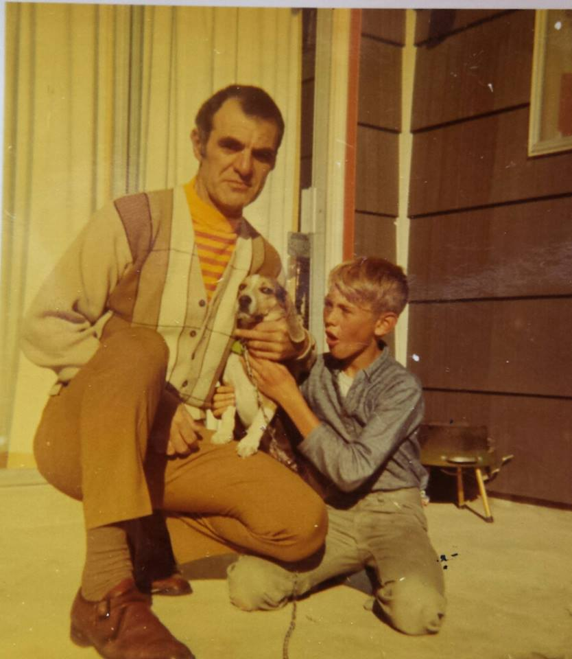 My father, brother, family dog Bella, 1972.